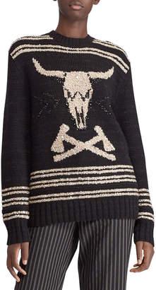 Ralph Lauren 50th Anniversary Steer Head Embroidered Crewneck Cashmere-Linen Sweater