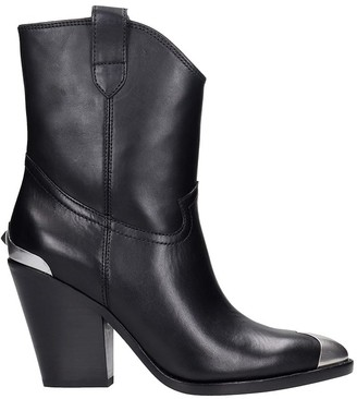 Ash Elvis Texan Ankle Boots In Black Leather