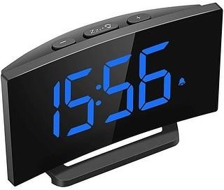 Etcbuys Digital Alarm Clock 5 Curved Led Screen 6 Brightness 3 Alarm Sound