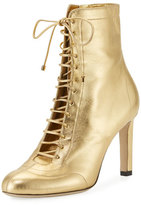 Jimmy Choo Daize Metallic Leather Lace-Up Bootie