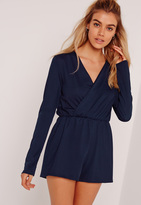 Missguided Crepe Wrap Playsuit Navy