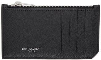 Saint Laurent Black Rive Gauche Fragment Card Holder