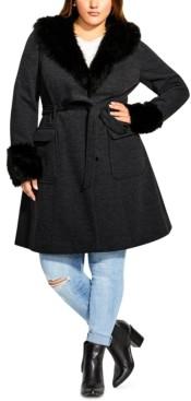 City Chic Trendy Plus Size Make Me Blush Faux-Fur-Trim Coat