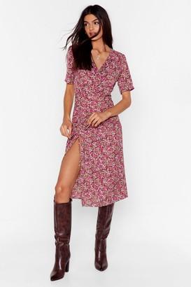 Nasty Gal Womens We Plant Help It Floral Midi Dress - Brown - 4, Brown