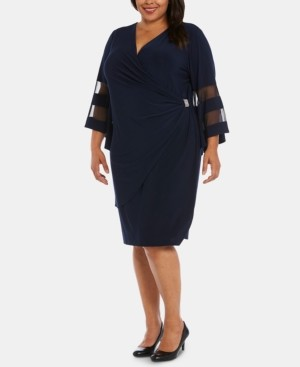 R & M Richards Plus Size Illusion Bell-Sleeve Dress