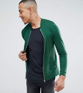 Asos Design DESIGN Tall muscle jersey bomber jacket in green