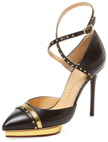 Charlotte Olympia Ivana Leather Pointed-Toe Pump
