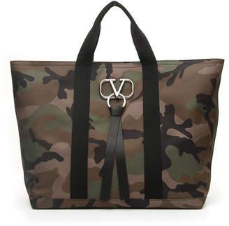 Valentino Garavani Men's Camouflage Tote Bag with Go Logo Ribbon