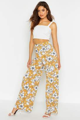 boohoo Large Floral Belted Wide Leg Trousers
