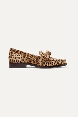Loeffler Randall Elina Knotted Leopard-print Velvet Loafers - Leopard print