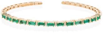 Suzanne Kalan 18kt yellow gold Fireworks emerald horizontal bracelet