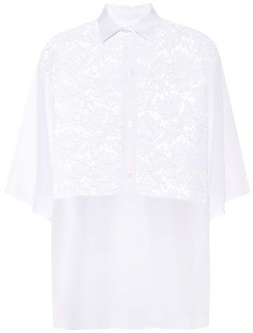 Valentino Lace-panelled silk blouse
