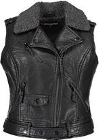 Urban Republic Black Faux Fur-Collar Faux Leather Moto Vest