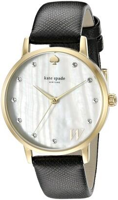 kate spade new york Women's 1YRU092W Metro Monogram Analog Display Japanese Quartz Black Watch
