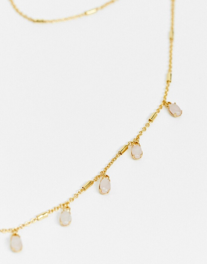 Thumbnail for your product : New Look rose quartz charm necklace in gold plated