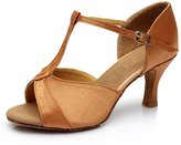 Generic High Quality Women's Ladies Adult Sandals Satin High Heel Latin Dance Shoes Ballroom Shoes Brown