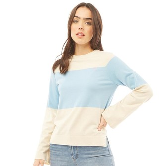 Crew Clothing Womens Cuff Sleeve Stripe Jumper Ivory Marl/Blue Bell