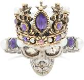 Alexander McQueen Queen skull crystal and faux-pearl ring