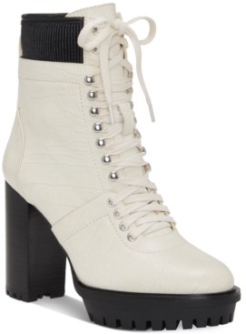Vince Camuto Women's Ermania Lace Up Lug Sole Combat Booties Women's Shoes