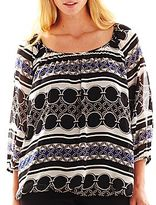 JCPenney Worthington® 3/4-Sleeve Smocked Blouse with Cami - Plus