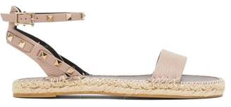 Valentino Rockstud-strap Leather Espadrille Sandals - Womens - Nude