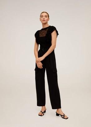 MANGO Ruffles lace top black - S - Women