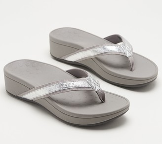 Vionic Platform Leather Thong Sandals - High Tide Metallic
