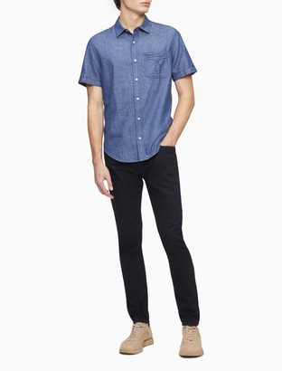 Calvin Klein Chambray Omega Stitch Short Sleeve Shirt