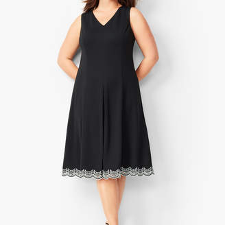 Talbots Embroidered Ponte Fit & Flare Dress