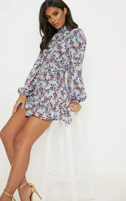 PrettyLittleThing Dusty Blue Floral High Neck Frill Hem Shift Dress