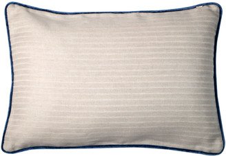 Bivain Cream Linen Rectangular Cushion With Blue Velvet Piping