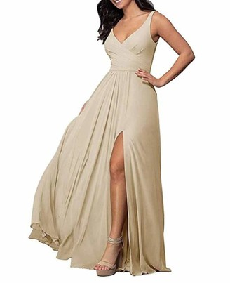 Leader Of The Beauty Women's Off The Shoulder Grey Chiffon Prom Dresses Long Side-Slit Party Evening Gowns Wedding Dresses UK14