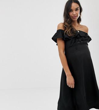 ASOS DESIGN Maternity linen bardot midi dress
