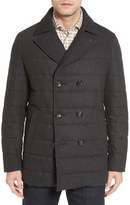 Luciano Barbera Men's Quilted Down Wool Blend Peacoat