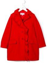 Simonetta ruffled trim coat - kids - Polyamide/Polyester/Acetate/Virgin Wool - 8 yrs