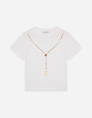 Dolce & Gabbana Jersey T-Shirt With Necklace Print