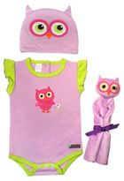 Sozo 3-Piece Owl Welcome Home Gift Set in Purple/Pink/Green