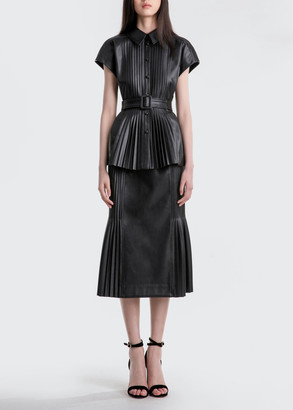 Huishan Zhang Rowan Belted Pleated Faux-Leather Top