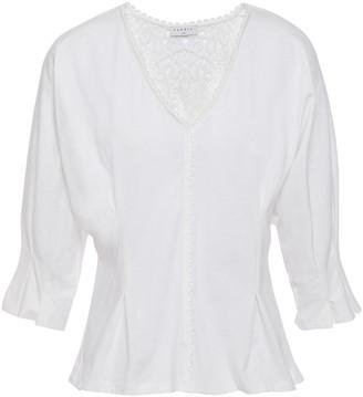 Sandro Guipure Lace-paneled Cotton-jersey Peplum Blouse