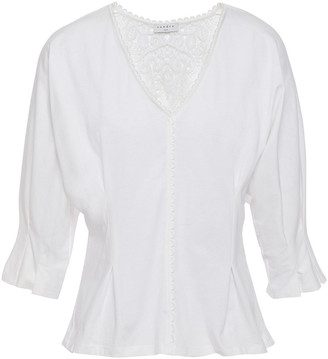 Sandro Guipure Lace-paneled Gathered Cotton-jersey Top