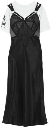 McQ Layered Printed Cotton-jersey And Satin Midi Dress