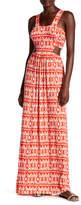 Loveappella Print Tie Back Cutout Maxi Dress