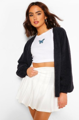 boohoo Premium Fluffy Knit V Neck Cardigan