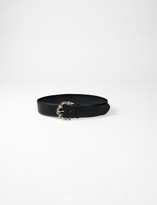 Maje Wide leather belt with Berber buckle