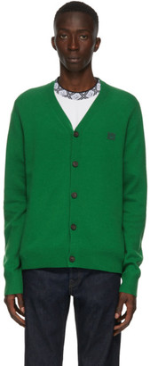 Acne Studios Green V-Neck Patch Cardigan