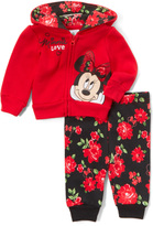 Children's Apparel Network Red 'Love' Minnie Mouse Hoodie & Floral Sweatpants - Infant