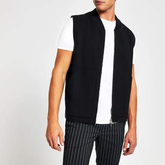 River Island Mens Navy slim fit knitted gilet
