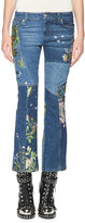Alexander McQueen Floral-Embroidered Kick Crop Jeans, Light Blue