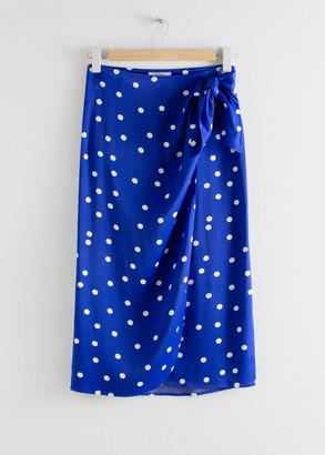 And other stories Satin Knot Tie Midi Wrap Skirt