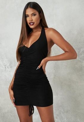 Missguided Black Ruched Halter Mini Dress